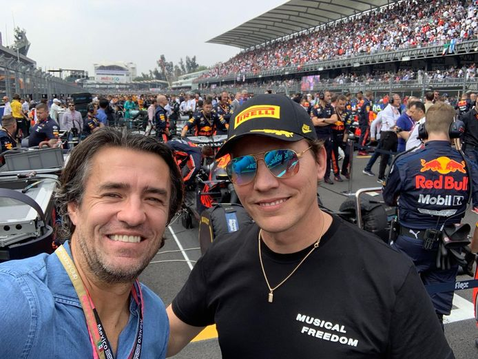 John van Lottum and DJ Tiesto at the Mexican GP